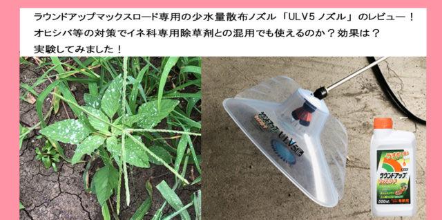 ラウンドアップULV5ノズル 使い方 イネ科除草剤との混用レビュー アイキャッチ