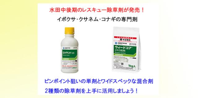 リンズコア剤 ロイヤント乳剤 ウィードコア粒剤 アイキャッチ